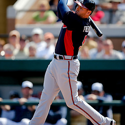 Feb 27, 2013; Lakeland, FL, USA; Atlanta Braves first baseman Freddie Freeman (5) grounds out against the Detroit Tigers during the top of the first inning of a spring training game at Joker Marchant Stadium. Mandatory Credit: Derick E. Hingle-USA TODAY Sports