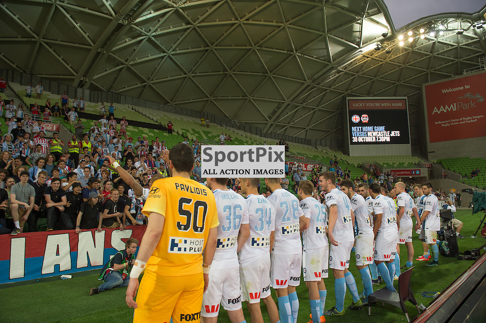 City with fans at the end of the Hyundai A-League,  25th October 2015, RD 3, Melbourne City FC v Central Coast Mariners with a win to City 3:1 © Mark Avellino | SportPix.org.uk