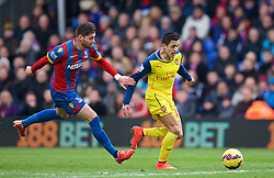 LONDON, ENGLAND - Saturday, February 21, 2015: Arsenal's Alexis Sanchez in action against Crystal Palace during the Premier League match at Selhurst Park. (Pic by David Rawcliffe/Propaganda)