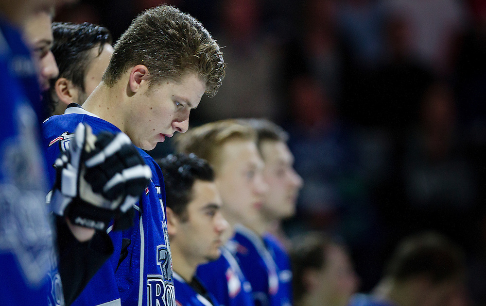 VICTORIA, B.C. - SEPTEMBER 26:  The Victoria Royals against the Kamloops Blazers in the season opening game at the Save-On-Foods memorial Centre on September 26, 2014. The Blazers defeated the Royals 8-2. (Photo by Kevin Light)