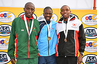 PORT ELIZABETH, SOUTH AFRICA - JULY 30: David Manja, Stephen Mokoka and Gladwin Mzazi during the SA Half Marathon Championships on July 30, 2016 in Port Elizabeth, South Africa. (Photo by Roger Sedres/Gallo Images)