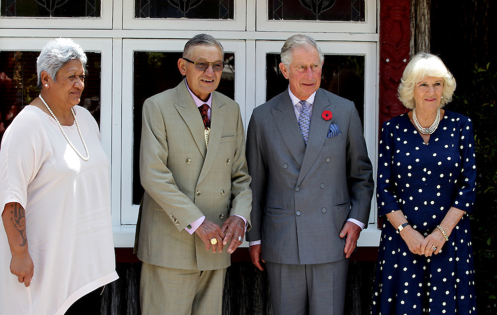 Prince Charles, Prince of Wales and Camilla, Duchess of Cornwall are photographed with the maori king, Kiingi Tuheitia and his wife Atawhai at Turangawaewae Marae, Hamilton, New Zealand, Sunday, November 08, 2015. Credit:SNPA / David Rowland **POOL**