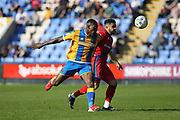 Reuben Noble-Lazarus wins a challenge during the EFL Sky Bet League 1 match between Shrewsbury Town and Rochdale at Greenhous Meadow, Shrewsbury, England on 8 April 2017. Photo by Daniel Youngs.