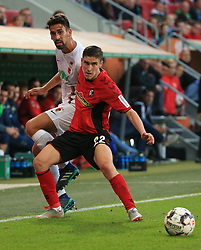 30.09.2018, 1.BL, 1. Bundesliga, FC Augsburg vs SC Freiburg, WWK Arena Augsburg, Fussball, Sport , im Bild:...Rani Khedira (FC Augsburg) vs Roland Sallai (SC Freiburg)..DFL REGULATIONS PROHIBIT ANY USE OF PHOTOGRAPHS AS IMAGE SEQUENCES AND / OR QUASI VIDEO...Copyright: Philippe Ruiz..Tel: 089 745 82 22.Handy: 0177 29 39 408.e-Mail: philippe_ruiz@gmx.de. (Credit Image: © Philippe Ruiz/Xinhua via ZUMA Wire)
