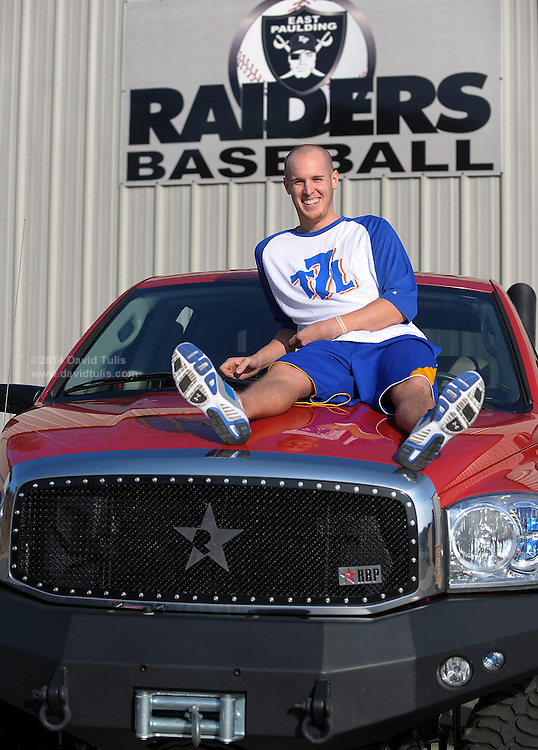 New York Mets pitcher Zack Wheeler, shown atop his oversized red truck at the East Paulding County High School baseball field in Powder Springs, Ga., Monday, Jan. 21, 2013, says he is looking forward to joining the team for spring training.   (David Tulis)