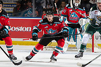 KELOWNA, BC - SEPTEMBER 28: Kyle Topping #24 looks for the pass in front of the net of Roman Basran #30 of the Kelowna Rockets against the Everett Silvertips at Prospera Place on September 28, 2019 in Kelowna, Canada. (Photo by Marissa Baecker/Shoot the Breeze)