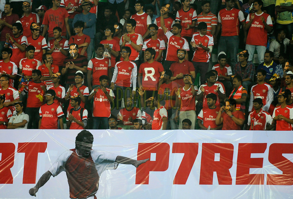 Supporters of Robert Pires of FC Goa during match 50 of the Hero Indian Super League between Chennaiyin FC and FC Goa held at the Jawaharlal Nehru Stadium, Chennai, India on the 5th December 2014.<br /> <br /> Photo by:  Pal Pillai/ ISL/ SPORTZPICS