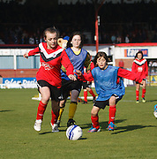Monifieth Ladies under 13s and under 15s played on Dens Park at half time of Dundee v Motherwell, Clydesdale Bank Scottish Premier League at Dens Park.. - © David Young - 5 Foundry Place - Monifieth - DD5 4BB - Telephone 07765 252616 - email: davidyoungphoto@gmail.com - web: www.davidyoungphoto.co.uk