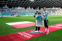 Radenko Mijatovic, president of NZS and Milivoje Novakovic of Slovenia before he played his last match in his professional career prior to the football match between National teams of Slovenia and Malta in Round #6 of FIFA World Cup Russia 2018 qualifications in Group F, on June 10, 2017 in SRC Stozice, Ljubljana, Slovenia. Photo by Vid Ponikvar / Sportida
