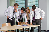 Business team looking at document in office