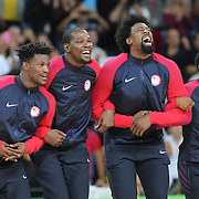 Basketball - Olympics: Day 16  USA players as they take to the podium for the medal presentation, from left, Jimmy Butler #4, Kevin Durant #5, DeAndre Jordan #6 and Kyle Lowry #7 of United States during the USA Vs Serbia Men's Basketball Gold Medal game at Carioca Arena1on August 21, 2016 in Rio de Janeiro, Brazil. (Photo by Tim Clayton/Corbis via Getty Images)
