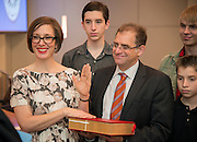 Houston ISD trustee Anna Eastman takes the oath of office during a ceremony, January 16, 2014.