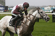 Covered in mud and soaking wet Silver Streak and jockey Adam Wedge come home in the 3.25pm The Betway Aintree Hurdle (Grade 1) 2m 4fduring the Grand National Festival Week at Aintree, Liverpool, United Kingdom on 4 April 2019.