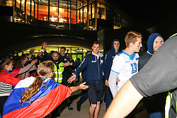 Toncek Stern #1 (SLO), Saso Stalekar #10 (SLO), Rok Mozic and Tine Urnaut #17 (SLO) at celebration outside arena after volleyball match between National teams of Slovenia and Poland in semifinal of 2019 CEV Volleyball Men's European Championship in Ljubljana, on September 26, 2019 in Arena Stozice. Ljubljana, Slovenia. Photo by Matic Klansek Velej / Sportida