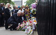 UNITED KINGDOM, London: 7 July 2015 Friends and family of the victims of the July the 7th bombing in London mourn and pay there respects including the driver of the number 30 bus George Psaradakis (laying flowers 2nd) that day at the spot where the number 30 bus was attacked on the ten year anniversary at Tavistock Square in London, England. Andrew Cowie / Story Picture Agency