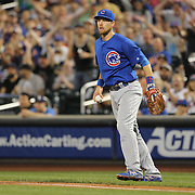 NEW YORK, NEW YORK - July 01: Ben Zobrist #18 of the Chicago Cubs playing at first base during the Chicago Cubs Vs New York Mets regular season MLB game at Citi Field on July 01, 2016 in New York City. (Photo by Tim Clayton/Corbis via Getty Images)
