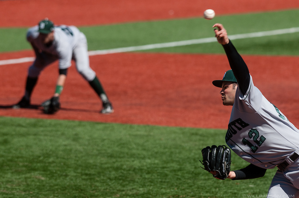 Dartmouth's Adam Frank was his team's third pitcher of the came, coming in with one out in the seventh inning during Penn at Dartmouth baseball at Red Rolfe Field at Biondi Park in Hanover, N.H., on April 6, 2014. Penn won, 4-0. (Valley News - Will Parson)