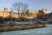 Christ Church and Gardens in Winter Frost, Oxford University, England