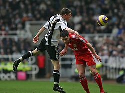 Newcastle, England - Saturday, February 10, 2007: Liverpool's Steve Finnan is beaten by Newcastle United's James Milner during the Premiership match at St James' Park. (Pic by Dave Kendall/Propaganda)