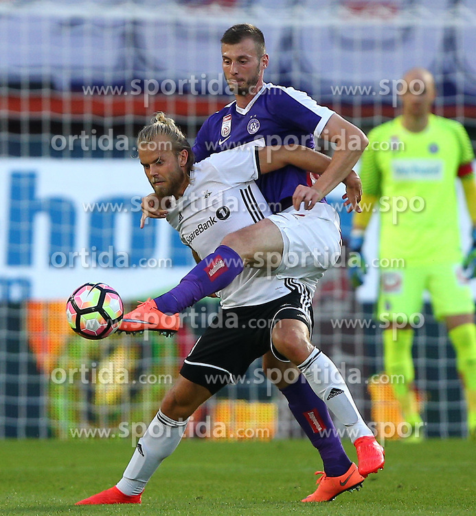 18.08.2016, Ernst Happel Stadion, Wien, AUT, UEFA EL, FK Austria Wien vs Rosenborg BK Trondheim, Qualifikation, Playoff Runde, Hinspiel, im Bild Christian Gytkjaer (Rosenborg BK Trondheim) und Petar Filipovic (FK Austria Wien) // during a UEFA Europa League Qualifier, playoff round, first leg, between FK Austria Vienna and Rosenborg BK Trondheim at the Ernst Happel Stadion, Wien, Austria on 2016/08/18. EXPA Pictures © 2016, PhotoCredit: EXPA/ Thomas Haumer