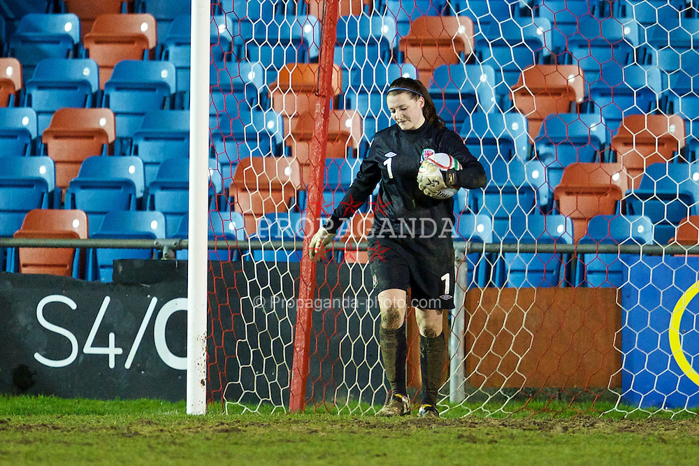 NEWTOWN, WALES - Friday, February 1, 2013: Wales' goalkeeper Alice Evans looks dejected as Norway score the third goal during the Women's Under-19 International Friendly match at Latham Park. (Pic by David Rawcliffe/Propaganda)