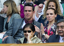 LONDON, ENGLAND - Tuesday, June 21, 2011: Cricketer Kevin Pietersen and his wife Jessica Taylor in the Centre Court Royal Box during day two of the Wimbledon Lawn Tennis Championships at the All England Lawn Tennis and Croquet Club. (Pic by David Rawcliffe/Propaganda)