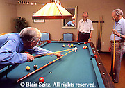 Active Aging, Senior Citizens, Retired, Activities, Retired Elderly Men Play Pool, Retirement Community
