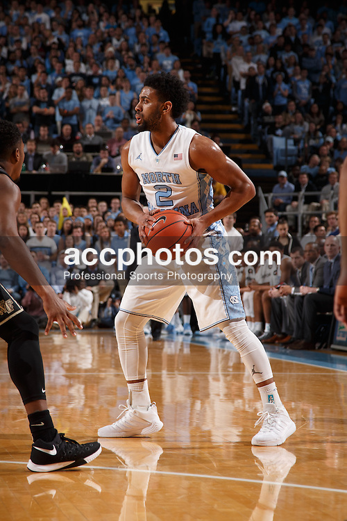 CHAPEL HILL, NC - JANUARY 20: Joel Berry II #2 of the North Carolina Tar Heels holds the ball against the Wake Forest Demon Deacons on January 20, 2016 at the Dean E. Smith Center in Chapel Hill, North Carolina. North Carolina won 68-83. (Photo by Peyton Williams/UNC/Getty Images) *** Local Caption *** Joel Berry II