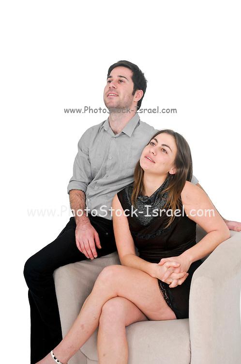 optimistic couple On white Background