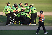 Western Storm celebrate winning the match as Carla Rudd looks on during the Kia Women's Cricket Super League Final match between Western Storm and Southern Vipers at the 1st Central County Ground, Hove, United Kingdom on 1 September 2019.