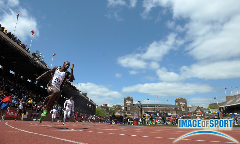 Apr 27, 2012; Philadelphia, PA, USA; General view of a Rasheed Dwyer of G.C. Foster during a college 4 x 100m relay heat in the 118th Penn Relays at Franklin Field.