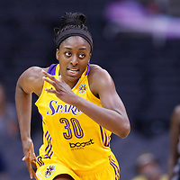 25 May 2014: Los Angeles Sparks forward Nneka Ogwumike (30) is seen running the court during the Los Angeles Sparks 83-62 victory over the San Antonio Stars, at the Staples Center, Los Angeles, California, USA.