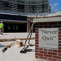 Thomas Wells | Buy at PHOTOS.DJOURNAL.COM<br /> Tools begin to pile up around the field as work continues during the expansion of Vaught-Hemmingway Stadium at Ole Miss.