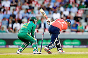 Alex Hales is bowled during the International T20 match between England and Pakistan at the Emirates, Old Trafford, Manchester, United Kingdom on 7 September 2016. Photo by Craig Galloway.