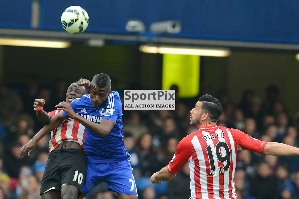 Air battle between Sadio Mané of Southampton and Ramires of Chelsea during Chelsea v Southampton, Barclays Premier League, 15 December 2015 at Stamford Bridge Stadium, London, England (c) Salvio Calabrese | SportPixPix.org.uk
