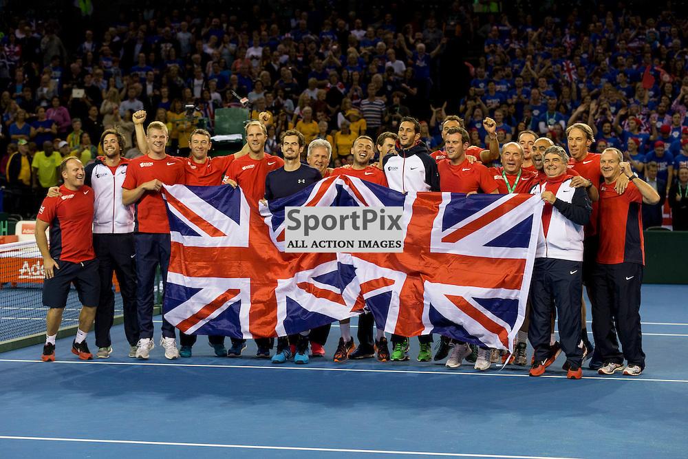 Davis Cup semi-final: Great Britain v Australia<br /> <br /> Team GB celebrate winning the Davis Cup Semi Final<br /> <br /> Picture: Alan Rennie