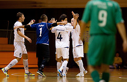 Danijel Pantic, Damir Puskar, Milivoje Simeunovic and Igor Osredkar of Litija celebrate during futsal match between FC Litija and Athina '90 in Main Round of Group I of UEFA Futsal Cup, on September 29, 2011, in Sports hall, Litija, Slovenia.  (Photo by Vid Ponikvar / Sportida)