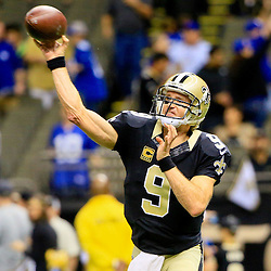 Nov 1, 2015; New Orleans, LA, USA; New Orleans Saints quarterback Drew Brees (9) against the New York Giants before a game at the Mercedes-Benz Superdome. Mandatory Credit: Derick E. Hingle-USA TODAY Sports