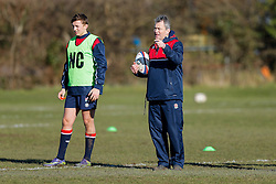 England U20 Head Coach Jon Callard takes training as full back Darren Atkins (Bath Rugby) looks on at Bristol Rugby's training facility ahead of the U20 Six Nations match versus Wales - Mandatory byline: Rogan Thomson/JMP - 08/03/2016 - RUGBY UNION - Clifton Rugby Club - Bristol, England - England Under 20s Training at Bristol Rugby.