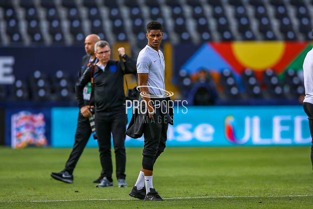England forward Marcus Rashford (Manchester United) during the England walk around the pitch ahead of the Nations League Semi-Final against Holland at Estadio D. Afonso Henriques, Guimaraes, Portugal on 5 June 2019.