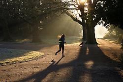 © Licensed to London News Pictures. 31/01/2019. London, UK. A woman jogging in Finsbury Park, north London covered with frost at sunrise following the coldest night this winter. Photo credit: Dinendra Haria/LNP