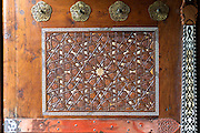 Detail of ornate carved entrance door at Suleymaniye Mosque in Istanbul, Republic of Turkey