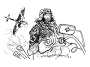 (Biker with Nazi regalia and Spitfire above)