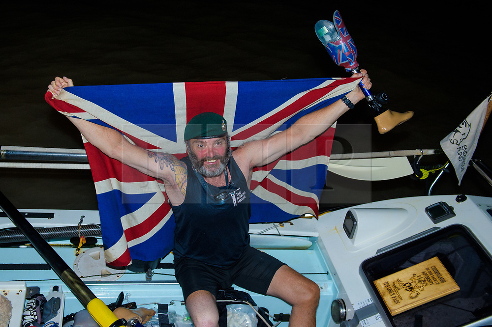 © Licensed to London News Pictures. 11/03/2019.  Briton Lee Spencer, a 49 year-old single leg amputee, has beaten the able-bodied World Record for rowing solo across the Atlantic, in his boat - Hope - from mainland Europe to mainland South America, by 36 days. By reaching Cayenne, French Guiana he has become the world's first physically disabled person to do the crossing and completed it in 60 days, leaving Portimao, Portugal, less than two months ago. Lee undertook the row to demonstrate that no-one should be labelled or defined by their disabilities whilst also raising money for the Endeavour Fund and The Royal Marines Charity.. Photo credit: Anthony Upton/LNP<br /> <br /> For further info please contact<br /> Isobel@isobelcamier.com<br /> +447813 213274