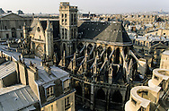 "France. Paris. elevated view. louvre museum and saint germain l'auxerrois church. view  from the "" Samaritaine"" dpt store roof top."