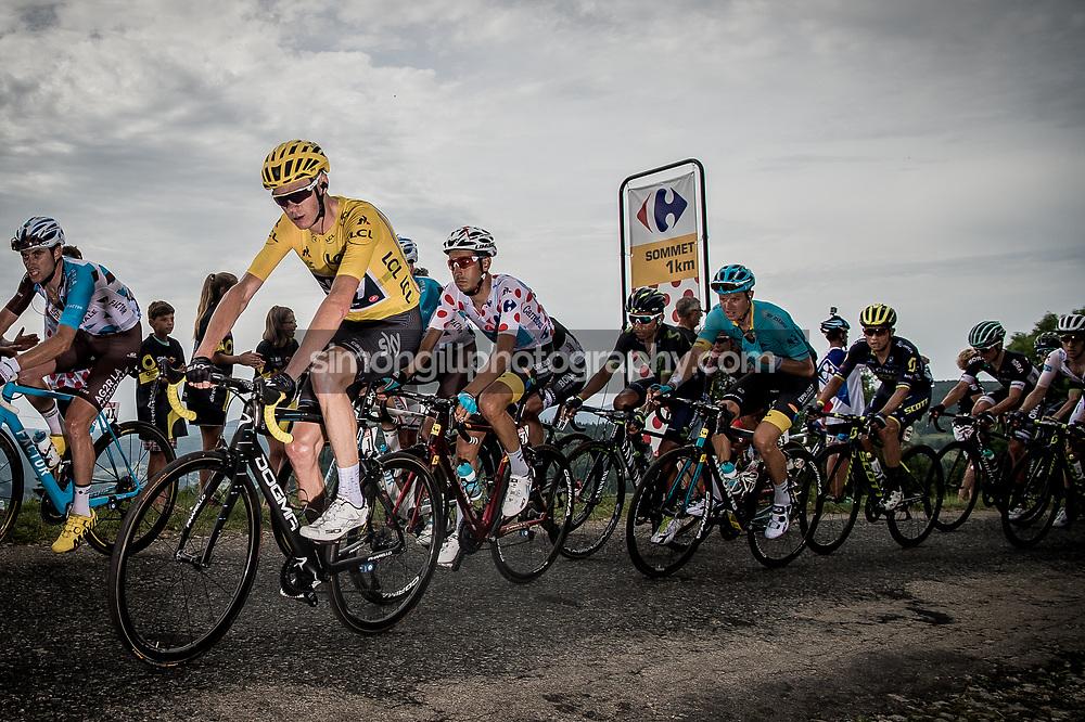 July 8th 2017, France; Cycling, Tour de France Stage 8: July 8th 2017, France; Cycling, Tour de France Stage 8: Chris Froome 1km from the summit of the Cote de la Combe de Laisia-les Molunes.