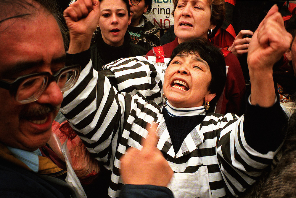General Augusto Pinochet Law Lords Ruling March 1999.Protesters celebrate outside the temporary residence of  General Augusto Pinochet after the Law Lords rule that extradition hearings to Spain can go ahead