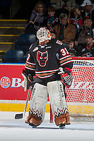 KELOWNA, CANADA - FEBRUARY 1: Kyle Dumba #33 of the Calgary Hitmen stands in net after a second period goalie change against the Kelowna Rockets on February 1, 2017 at Prospera Place in Kelowna, British Columbia, Canada.  (Photo by Marissa Baecker/Shoot the Breeze)  *** Local Caption ***