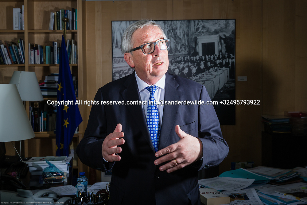 Brussels Belgium April 12 2018 President of ther European Commission Jean-Claude Juncker portrayed at his office on the topfloor of the Berlaymont building.