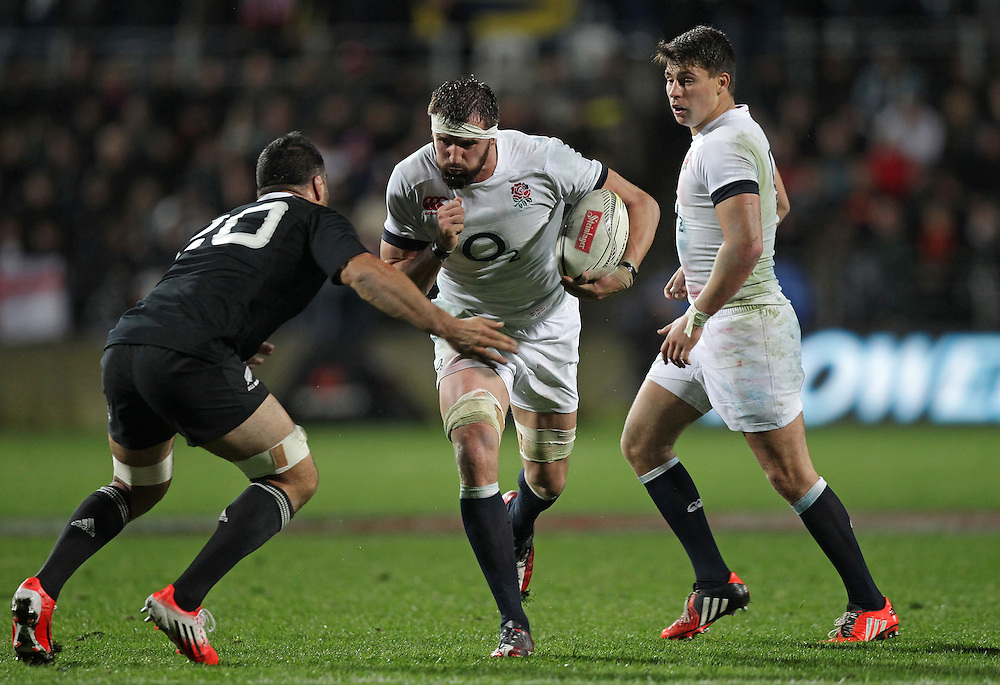 New Zealand's Liam Messam challenges England's Tom Wood in an International Rugby Test match, Waikato Stadium, Hamilton, New Zealand, Saturday, June 21, 2014.  Credit:SNPA / David Rowland